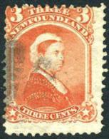 Newfoundland #33 Used 3c Vermillion Queen Victoria From 1870 - Newfoundland