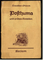 Reclam Heft  , Theodor Storm  -  Posthuma Und Andere Novellen  -  Von 1943 - Livres, BD, Revues