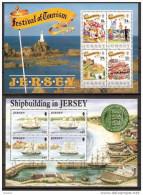 1990 1992 Jersey 2 FOGLIETTI: COSTRUZIONE NAVI, TURISMO  SHIPBUILDING, TOURISM (BF.5/6) MNH** 2 Souv. Sheets - Jersey