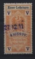 TIMBRES FISCAUX / SOCIO POSTAUX / ALSACE LORRAINE / N° 16B  / 13 SEMAINES - Revenue Stamps