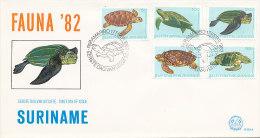 DC0074 SURINAM FDC 1982 - TURTLE - Schildpadden