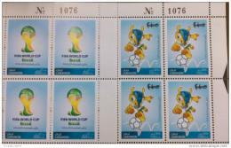 LIBAN 2014 ** NEUF - FIFA COUPE DU MONDE BRAZIL - CHAMPIONNAT FOOTBALL - MNH - Blocs De 4 COIN Avec Numeros De Controle - World Cup