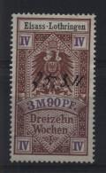 TIMBRES FISCAUX / SOCIO POSTAUX / ALSACE LORRAINE / N° 15 / 13 SEMAINES - Revenue Stamps