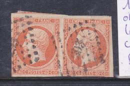 FRANCE N° 16 40C JAUNE ORANGE OBLITERATION BAYEUX  PAIRE PETITS CHIFFRES - 1853-1860 Napoleon III