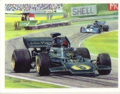 ´History Of Motor Racing´ Carte De Collection -  JPS Lotus  -  Mario Andretti  - 1972  -  Illustrateur Graham Turner - Automobile - F1