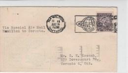 CANADA - 1928 - ENVELOPPE (VOL SPECIAL EXPO NATIONALE) De HAMILTON à TORONTO - - 1911-1935 Règne De George V