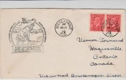 CANADA - 1935 - ENVELOPPE 1° VOL De BOURLAMAQUE à SISCOE - LOUPS - Lettres & Documents