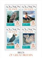 slm14210a Solomon Is. 2014 Birds Owl Swan Duck s/s