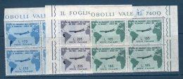 Italia / Italy  1961 - GRONCHI IN QUARTINA   -- ** MNH / VF / BDF - 6. 1946-.. Repubblica