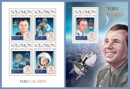 slm14216ab Solomon Is. 2014 Space Yuri Gagarin 2 s/s