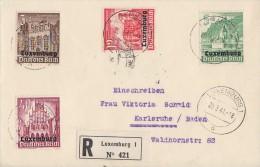 Luxemburg R-Brief Mif Minr.33,35,38,41 Luxemburg 20.3.41 Gel. Nach Karlsruhe - Besetzungen 1938-45