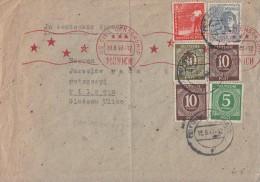 Gemeina. Brief Mif Minr.915,2x 918,928,945,947 Frankfurt 16.8.47 Gel Nach Pilsen Zensur - Gemeinschaftsausgaben