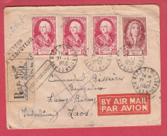 "Yvert N°855+857 X 3 S/lettre Recommandée  Avion Laos.Obl""Nice""21/1/1950.+retour A L'envoyeur - Posttarife"