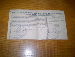 Tickets De Pain Pour Les Militaires En Déplacement : Le Capitaine Commandant 17 - Documents