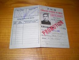 Licence F N B  : Fédération Nationale De Boules ; Fédération De La Haute Loire  . 1938 - Pétanque