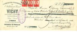 Document Financier Via Poste - TP Pellens 10 C X 3 CHARLEROY 1913 - Eau Minérale VICHY  -- VV392 - Hydrotherapy