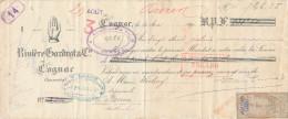 Document Financier Distillerie De Cognac Rivière à COGNAC 1891 - Timbres Fiscaux Français Et  Belge  -- VV394 - Vins & Alcools