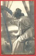 CARTOLINA NV ITALIA - Ragazza Con Arpa - 1921 - 9 X 14 - Musica E Musicisti