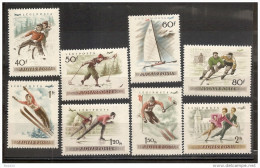 1955 Ungheria Hungary CAMPIONATI EUROPEI PATTINAGGIO  SKATING Serie Aerea Di 8v. (181/88) MNH** Airmail - Ungheria