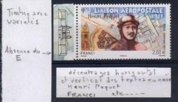 """VARIETE """"ABSENCE DU E DE FRANCE"""" SUR  """" HENRI PEQUET """"  N° 74   NEUF  /  ISSU DE FEUILLET DE 10 EX / MARGE ILLUSTREE - Airmail"""