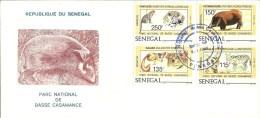 FDC Senegal  Parc National De Basse Casamance   Fauves Serval Panthere Potamochere Galago - Big Cats (cats Of Prey)