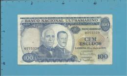 MOZAMBIQUE - 100 ESCUDOS - 23.05.1972 - P 113 - GAGO COUTINHO E SACADURA CABRAL - PORTUGAL - Mozambique