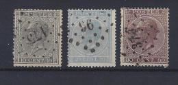 N°17A/19A GESTEMPELD L175/L96/L374 COB € 16.25 + NIPA 225 SUPERBE - 1865-1866 Profile Left