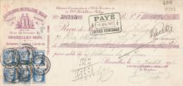 Document Financier Via Poste - TP Grosse Barbe PERFORES G.D.B. Grande Distillerie Belge à BRUXELLES 1912  -- VV400 - Perfins