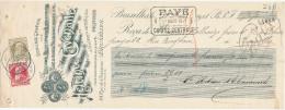 BELGIQUE - Document Financier Via Poste Belge 1911 - Outillage Pour Brasseries , Moulins , Heleine à Bruxelles  -- VV410 - Bières