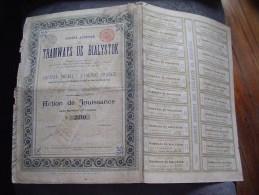 """Action De Jouissance """" Tramways De Bialystk """" Pologne ¨Poland 1895 N° 2310 Reste Tous Les Coupons Recollés - Chemin De Fer & Tramway"""