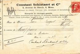 BELGIQUE - Document Financier Via Poste Belge 1905 - Pavements Pour Brasseries , Malteries Schietaert à MONS  -- VV411 - Bières