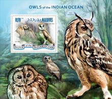 mld14308b Maldives 2014 Birds Owl s/s