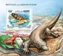 mld14309b Maldives 2014 Reptiles Lizard Turtle s/s