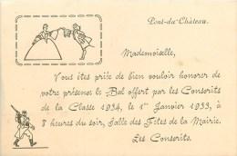 63 - Pont-du-Château  - ** Bal Des Conscrits De La Classe 1933 ** - Carte D'invitation Ancienne(8 X 12 Cm)- Voir 2 Scans - Pont Du Chateau