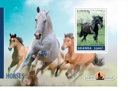 ugn14201b Uganda 2014 Horses s/s