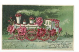 9898 -  Fantaisie Locomotive Fleurie De Roses Carte En Relief - Trains