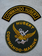 2 INSIGNES TISSUS PATCH DES COMMANDOS MARINE COMMANDO HUBERT ETAT EXCELLENT