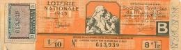 BILLET DE LOTERIE NATIONALE 1943 SOCIETES POSTALES DE MUTUALITE DE FRANCE ET DES COLONIES  8EM TRANCHE - Billets De Loterie