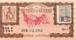 BILLET DE LOTERIE NATIONALE 1959 MUTILES DE GUERRE 38EM TRANCHE - Lottery Tickets