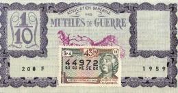 BILLET DE LOTERIE NATIONALE 1959 MUTILES DE GUERRE 43EM TRANCHE - Billets De Loterie