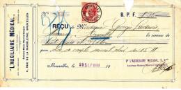 BELGIQUE - Document Financier Via Poste Belge 1909 - L´Auxiliaire Médical à Bruxelles  -- VV420 - Pharmacy