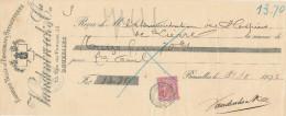 BELGIQUE - Document Financier Via Poste Belge 1892 - Pansements Antiseptiques Vandenbroeck à BRUXELLES  -- VV423 - Pharmacy