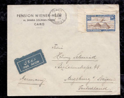 Ägypten Egypt 1939 Airmail Cover To AUGSBURG Germany Stamp From Corner !!! - Egypt