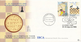 DC-128 NETHERLANDS - 1980 COVER CHESS OLYMPIAD FOR VISUAL HANDICAPPED - RARE CACHET!! - Chess