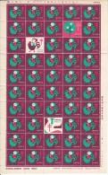 Japan 1956 Antituberculosis Seals Full Sheet Of 50 Girl On Chicken, Doves - Erinnophilie
