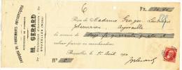 BELGIQUE - Document Financier Via Poste Belge 1910 - Pansements Antiseptiques Gérard à BRUXELLES  -- VV430 - Pharmacy
