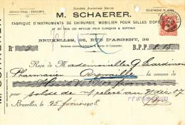 BELGIQUE - Document Financier Via Poste Belge 1908 - Instruments De Chirurgie Scharer à BRUXELLES  -- VV432 - Médecine