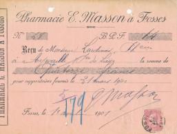 BELGIQUE - Document Financier Via Poste Belge 1901 - Pharmacie Masson à FOSSES  -- VV433 - Pharmacy