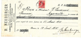 BELGIQUE - Document Financier Via Poste Belge 1910 - Produits Pharmaceutiques Neuburger à ANVERS   -- VV435 - Pharmacy