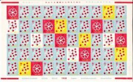 Japan 1958 Antituberculosis Seals Full Sheet Of 50 Snowflakes - Erinnophilie